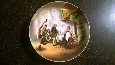 Exquisitely Painted Antique Berlin KPM Small Dish with Figures in Interior Scene