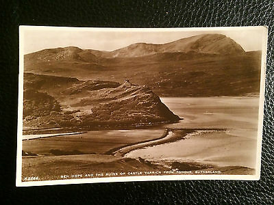 Old Topographical Postcard Ben Hope & Castle Varrich From Tongue Sutherland