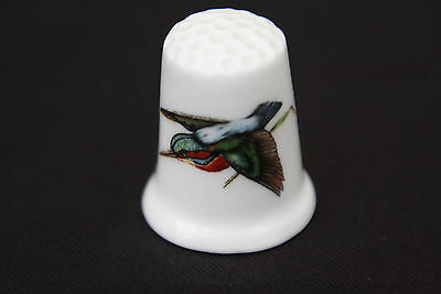Bone China Thimble with a Kingfisher Print