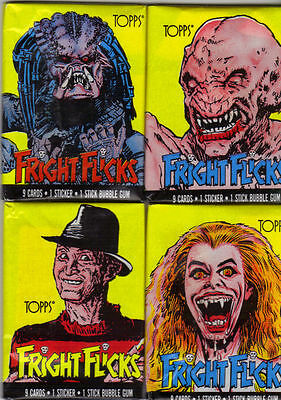FRIGHT FLICKS 4 Different Style Trade Card Wax Wrappers TOPPS USA 1988