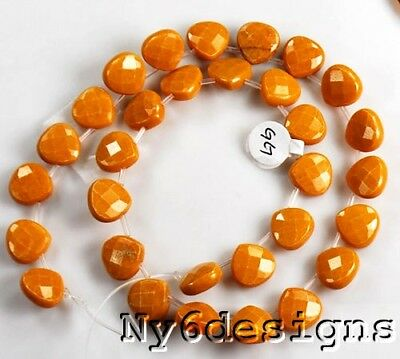 6x12mm Dark Yellow Jade Faceted Heart Loose Beads 30 Pcs (Y3302)b Free Shipping