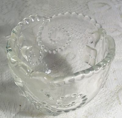 exquisite Holiday glass candle holder raised design