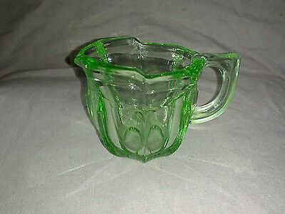 Chunky Art Deco Patterned Green Pressed Glass Jug. Sowerby /Greener.