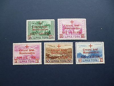 MONTENEGRO :- 1944 : Part-set of Red Cross stamps, Unmounted Mint.