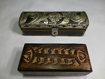 Two wood boxes/ trinket holders -Indian silver and tooled design