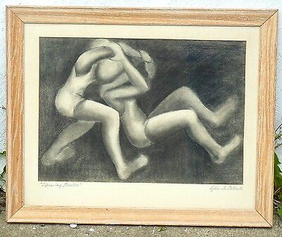 Lydia A.pollack,listed Philadelphia,charcoal Drawing,wrestlers,signed!modernist!