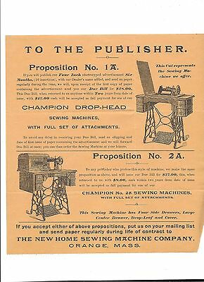 1800's Ad The New Home Sewing Machine Company
