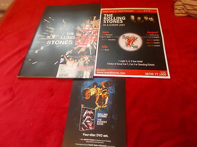 The Rolling Stones 2007 Concert Programme Ticket And Two Flyers