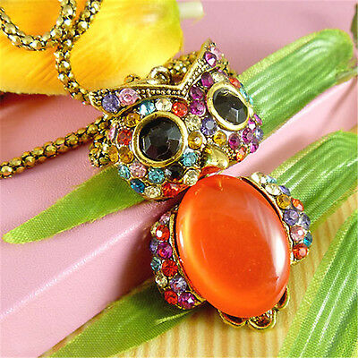 New Vintage Lady Fashion Jewelry Owl Crystal Pendant Cat's Eye Necklaces