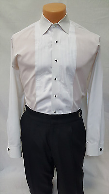 "Men's White laydown Collar Tuxedo Shirt 1/4"" Pleated Formal Used Cheap Costume"