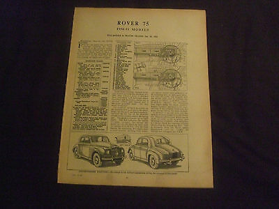 Rover 75 1950-51 Models Service Guide