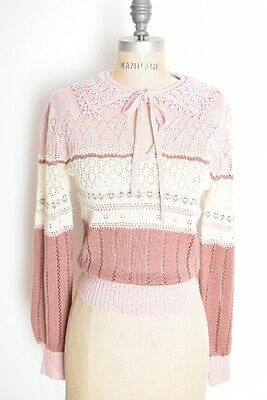 vintage 70s sweater pink pointelle crochet floral striped jumper top shirt S M