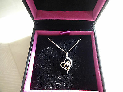 H Samuel  9ct Gold and Silver Heart Pendant