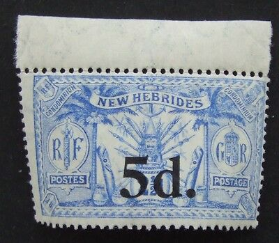 1924 mint unmounted New Hebrides 5d on 2½ stamp