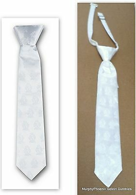 Boys White Satin First Holy Communion Clip-On Tie NIP FREE SHIPPING!!