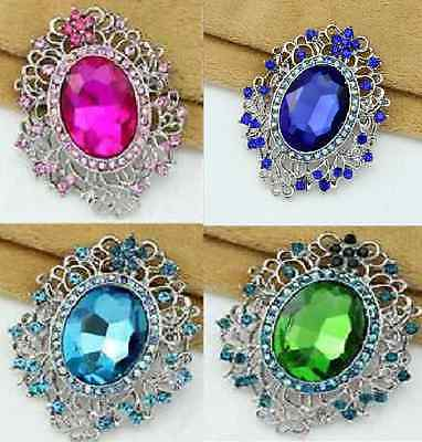 Large Silver Tone Pink, Green, Turquoise Or Royal Blue Rhinestone Crystal Brooch
