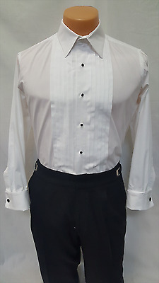 "Men's White laydown Collar Tuxedo Shirt 1/2"" Pleated Formal French Cuff Used Tux"