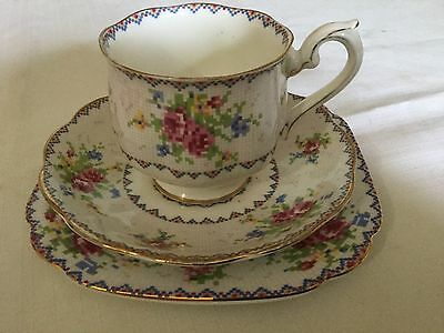 Royal Albert Bone China Trio  Cup/saucer/plate England   Petit Point Pattern
