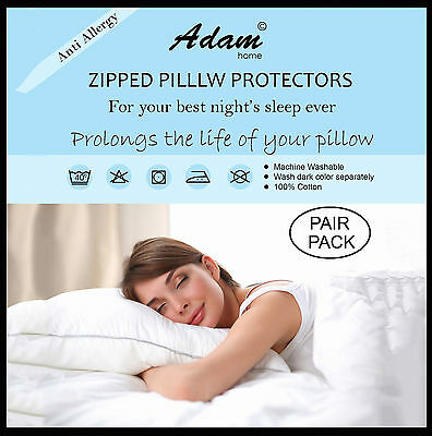 Pillow Protector Cotton Egyptian Anti Allergy Protector Zipped Closing Pack of 4