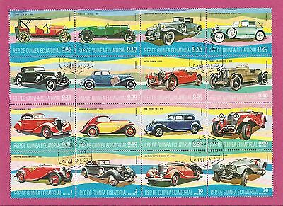 Sheet of 16 stamps showinf VINTAGE CARS