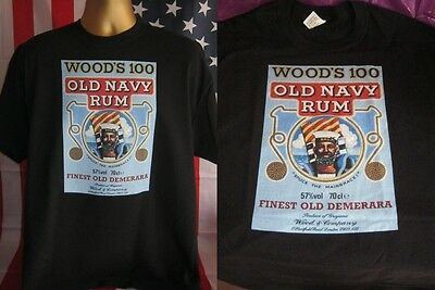 Wood's 100 Old Navy Rum Vintage Poster Print T Shirt- Black- Xxx Large (3Xl)