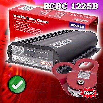 Redarc Bcdc1225D Dual Battery Dc To Dc System Solar Agm Lithium + Warn Snatch