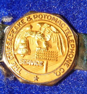 Chesapeake & Potomac Telephone Co Service Clip Gold Vintage Bell System