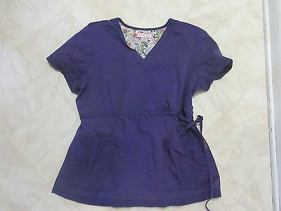 Koi by Kathy Peterson Purple Scrub Top Size XL