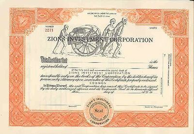 ZIONS INVESTMENT CORP STOCK CERTIFICATE MORMON HANDCART kc3