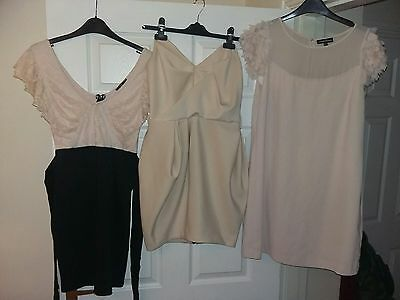 Bundle 3 x nude black dresses bodycon River Island Warehouse 10 12