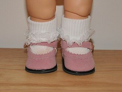 ~ PINK SUEDE SHOES w LACE SOCKS~ fit Galoob Baby Face & AG Dolls