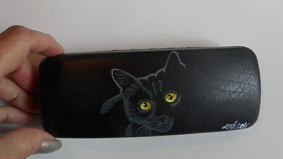 Bombay Black Cat Hand Painted Eyeglass case Simulated Leather
