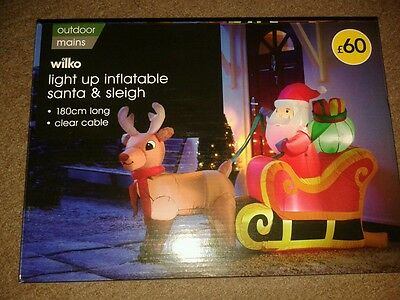 BRAND NEW Giant Inflatable Light Up Santa & Sleigh Outdoor Christmas Decoration