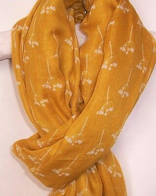 New Womens Mustard Yellow Scarf White Cow Parsley Print Shawl Ladies On Trend