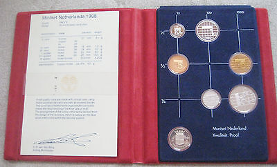 1988 Netherlands 6 Coin Proof Set with Year Medallion