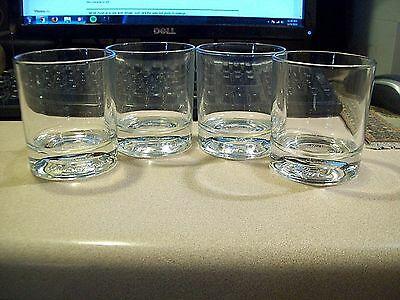 Set of 4 Crown Royal Embossed Commemorating 75 years, Low Ball Rocks Glasses