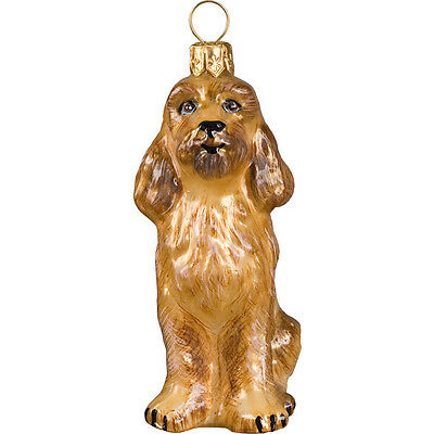 Cockerpoo Apricot Dog Polish Glass Christmas Ornament Made in Poland Decoration
