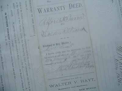 1885 (Billy the Kid),Lincoln County,New Mexico Territory,Signed by 3 people Deed