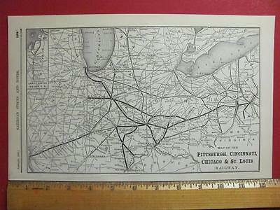 Old Pittsburg Cincinnati Chicago & St Louis Railroad System Map Printed In 1895