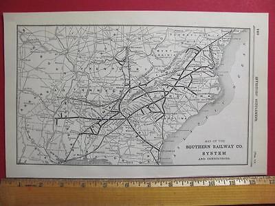 122 Year Old Southern Railway Railroad System Map Printed In 1895 Sou Rr History