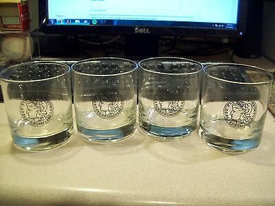 Set of 4 E. Pluribus Unum Low Ball Rocks Glasses Nice Rare!!!!!
