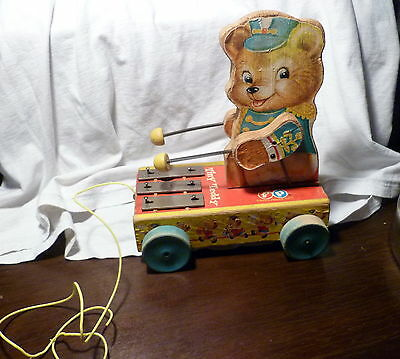 Charming Vintage 1962 Fisher Price Tiny Teddy Musical Pull Toy # 635