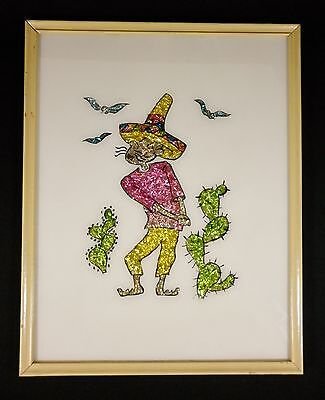 Old Vintage MEXICAN Campesino Sombrero Cactus Reverse Foil Painting Folk Art