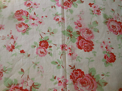 Vintage French Shabby Cottage Roses Cotton Fabric ~ Strawberry Red Pink Green