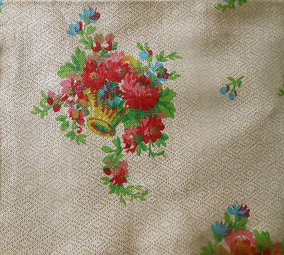 Vintage French Cottage Baskets of Roses Floral Cotton Fabric  ~