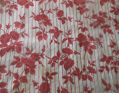 Antique French Cottage Roses Stripe Raspberry Pink Red Cotton Fabric ~ Aged