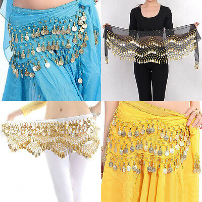 New Chiffon Belly Dance Hip Scarf 3 Rows Coin Belt Skirt EF
