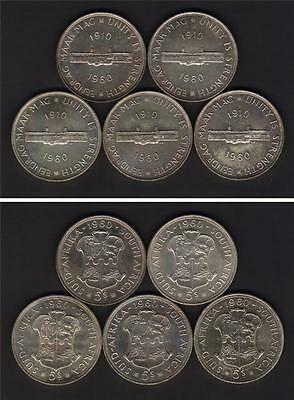 South Africa - Silver Crowns. 1960 50th Anniv of Union x 5 Coins. Prooflike UNC