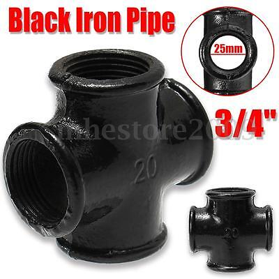 5 Pcs 3/4'' 25mm Black Iron Pipe Threaded Cross Fittings Street Home Plumbing