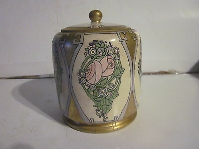 Antique Hand Painted R.c. Mark Porcelain Pink Rose Design Covered Jar
